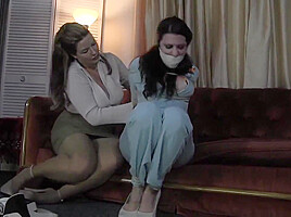 Brutal with humiliation and gagging brunette babe in...