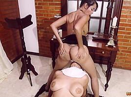 Kinky lesbian nun punishes gorgeous latina vixen with...
