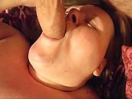 Fat granny deepthroats my cock...