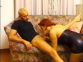 Cool redhead black lingerie...