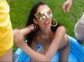 Brunette blowbang bukkake video compilation...