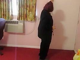 Aunt sue black pantyhose strip...