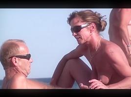 French nudist blowjob brunette voyeur...
