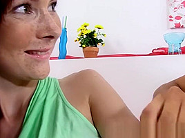 Face pissing for redhead during lesbian toying and...
