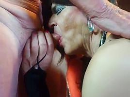 Slut is fuck toy for two grandpas...
