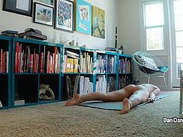 Naked yoga...