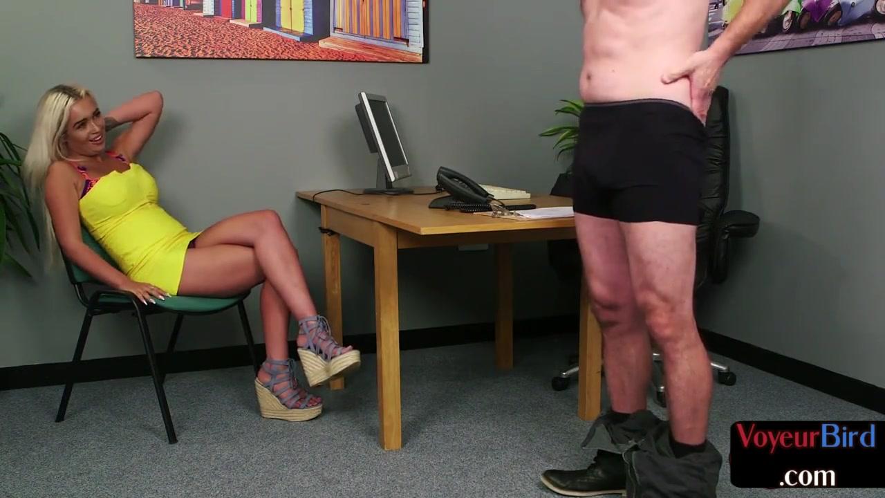 Bigboobs brit voyeur moaning during office JOI sesh