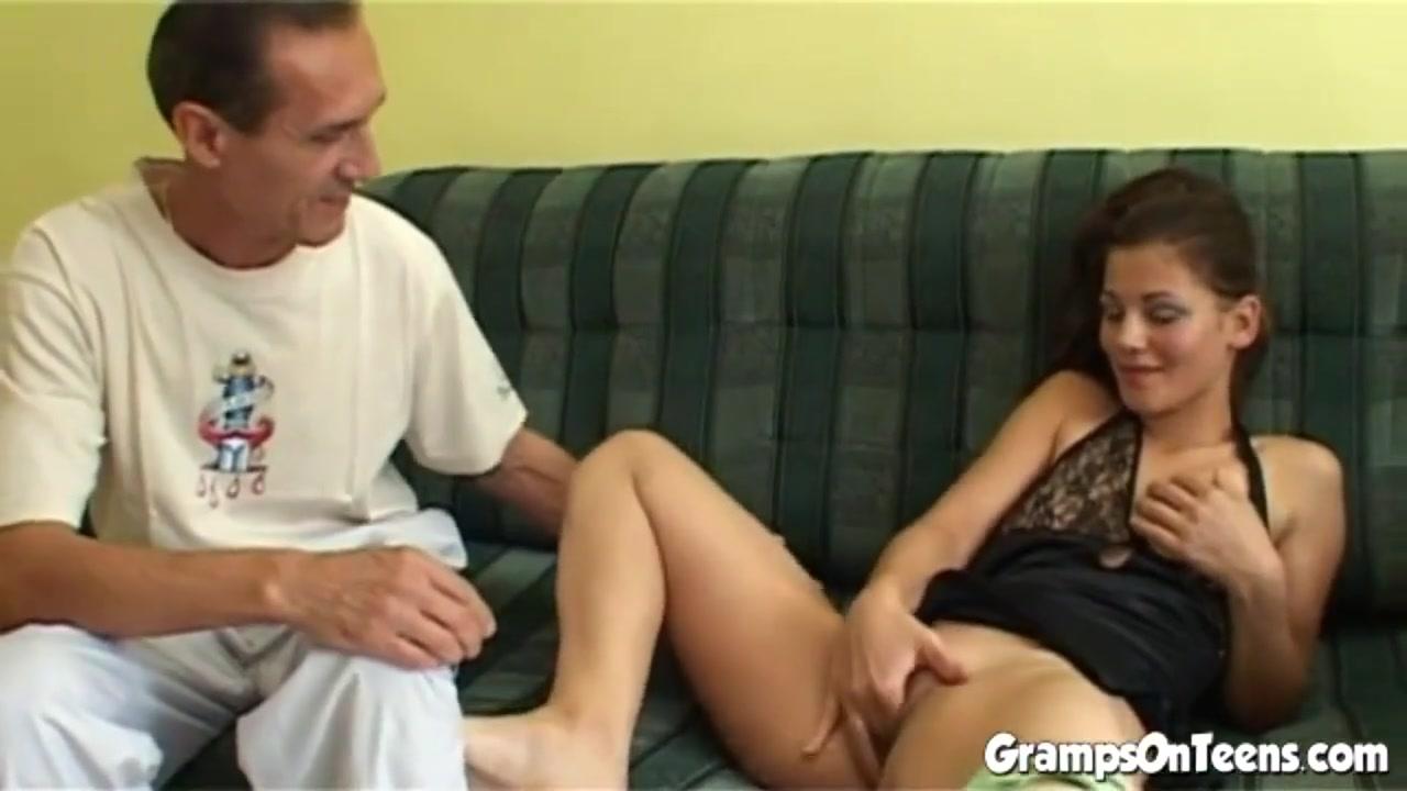 Teen slut blows grandpas cock eagerly