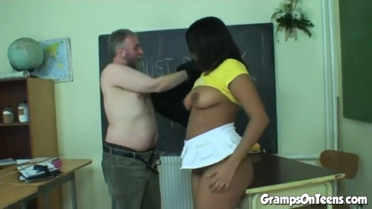 Ebony teen screws old man teacher