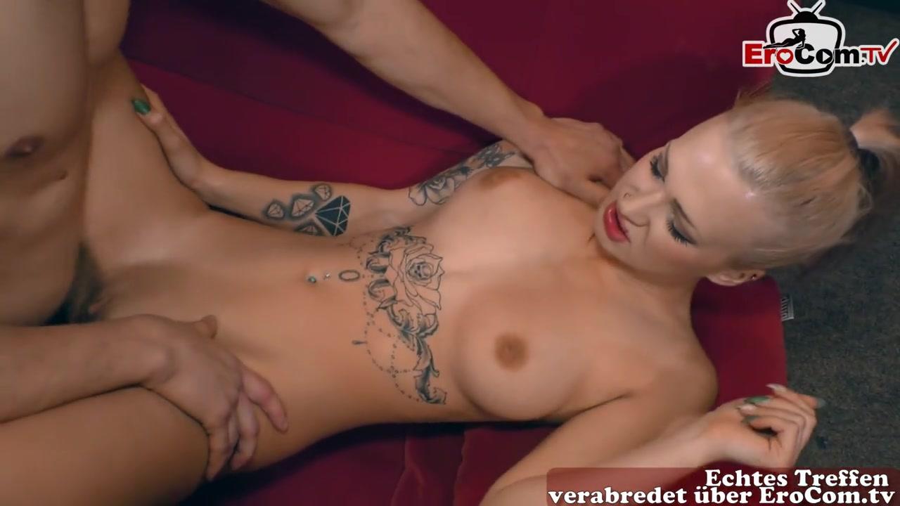 Skinny german blonde tattoo bitch with small tits fuck