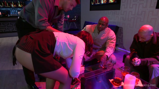 Naughty Waitress Takes Her Payment In Cock In An Interracial Gangbang - HardcoreGangbang