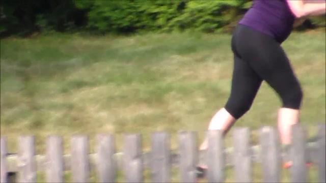 Candid See Through Spandex Red Thong Pregnant Cutting Grass