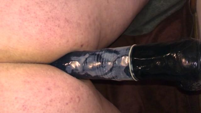 Amateur 13 inch black dildo anal