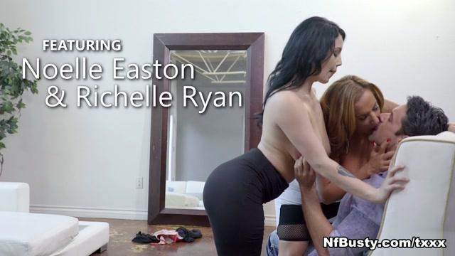 Die dicke reife Richelle Ryan und die üppige Noelle Easton in großartigem Dreier