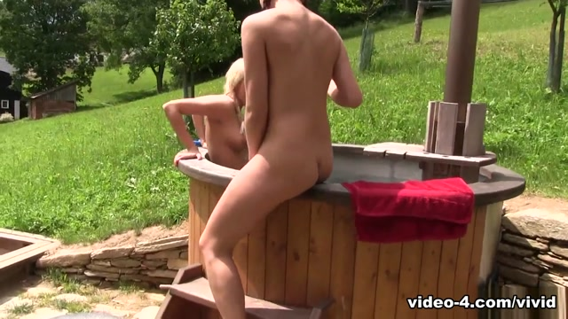 Vivid Video: Teen whores Karol and Ornella Morgan get spied on in the hot tub
