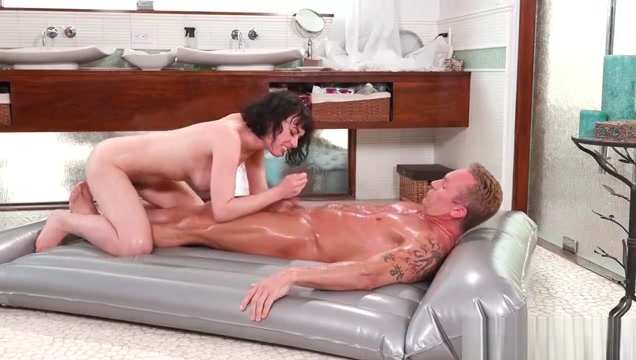 Hot brunette busty milf masseuse Olive Glass fucked hard and gives nice wet blowjob