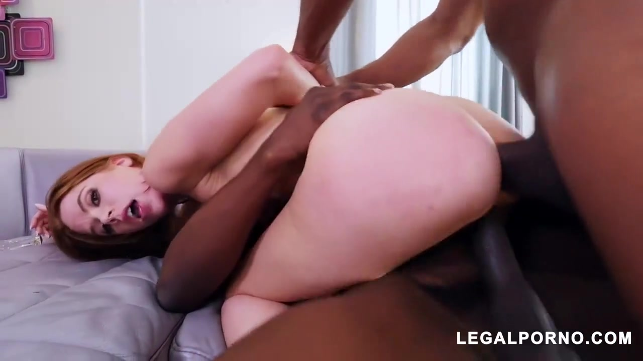 Red haired chick, Pepper Hart was having a wild threesome with two handsome, black guys