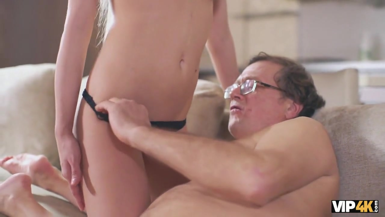 VIP4K. Sexy chick tastes old penis and gets it in sensitive pussy