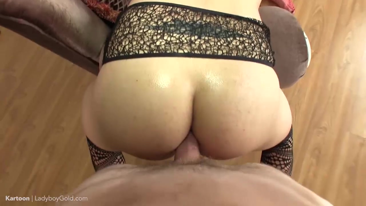 Ladyboy Kartoon's sweet ass-pussy is loaded up with two creampies during a hot TS and POV threesome